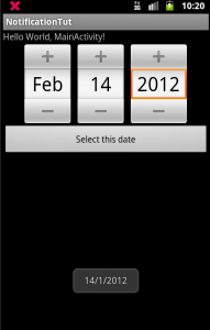 inline datepicker with toast of date