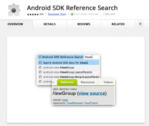 Android SDK Reference Search Chrome Add-on