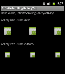 Two InfiniteGallery custom views